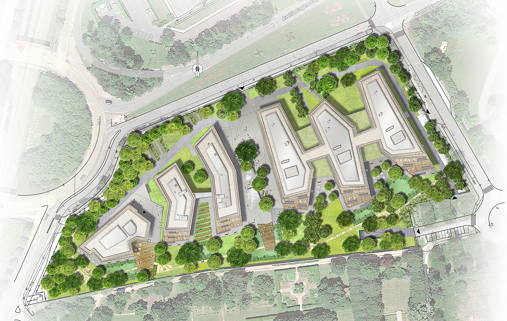 Plan masse campus les Cyclades Guyancourt City Immobilier ORY architecture